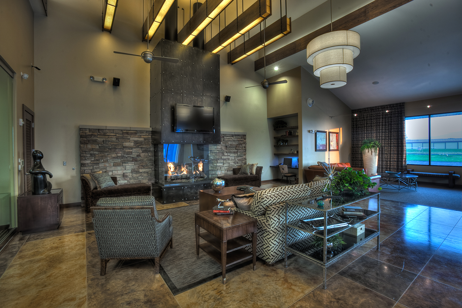 fireplace in a lobby area