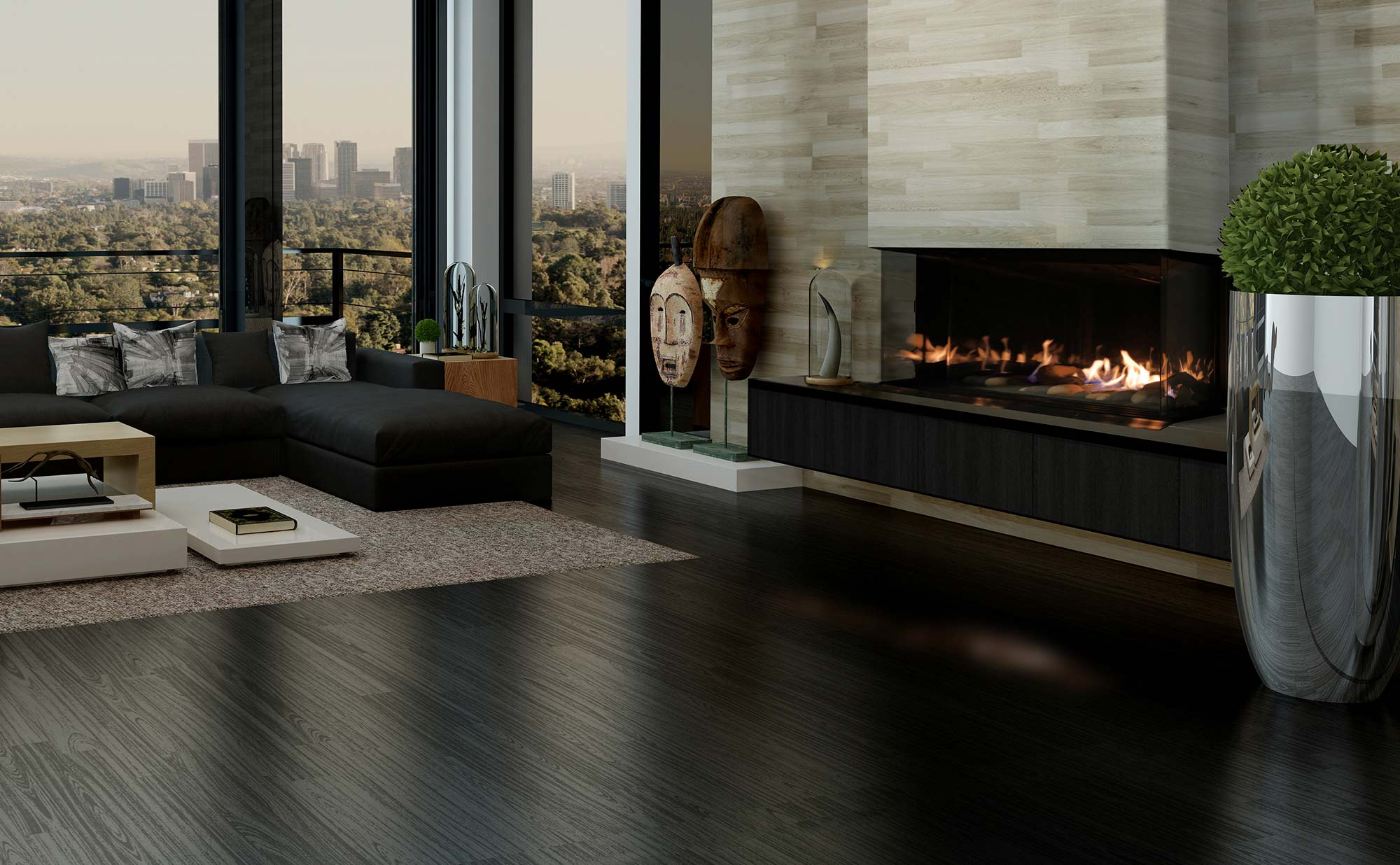 modern living room big windows fireplace