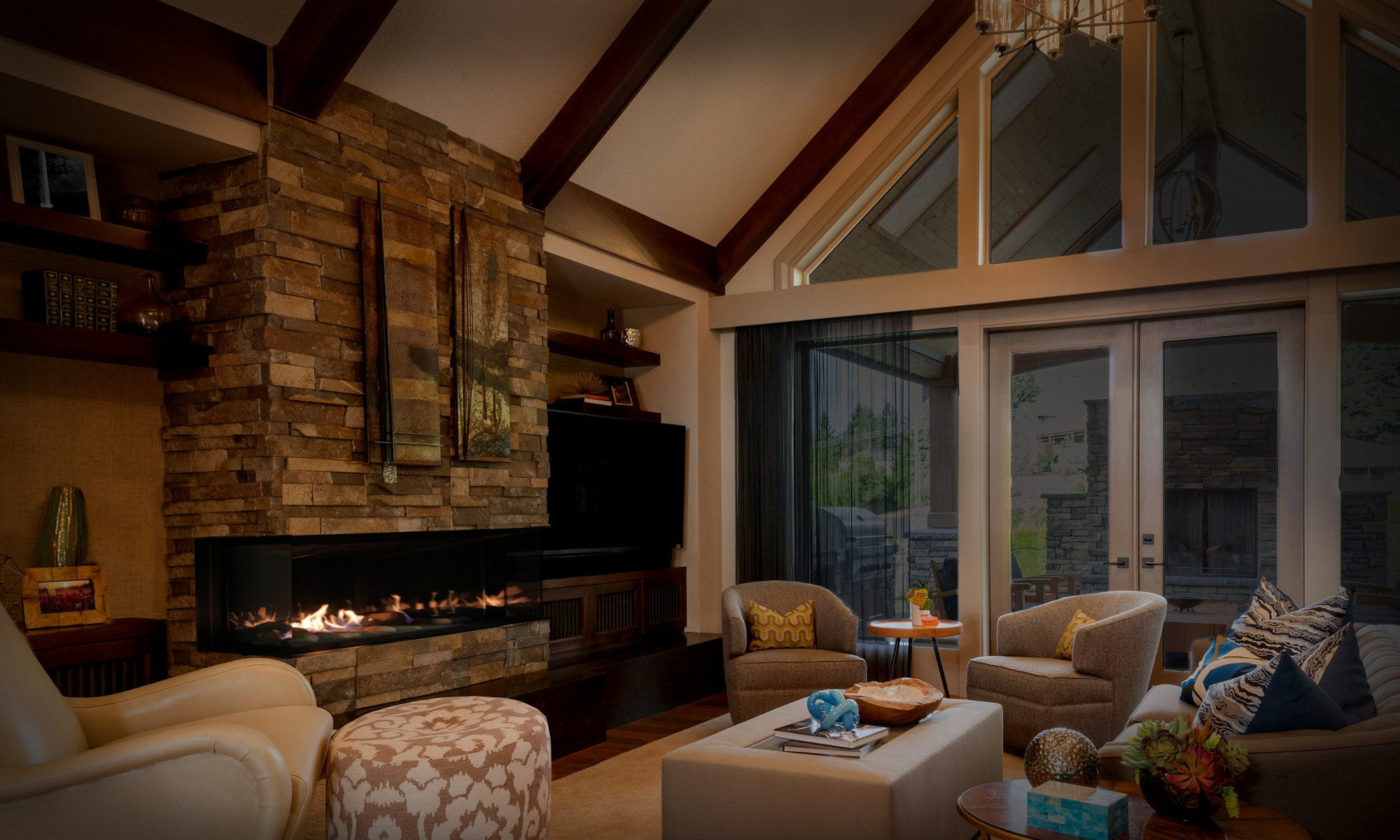 huge living room in a cabin style home