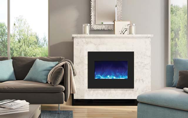 modern minimalist living room fireplace