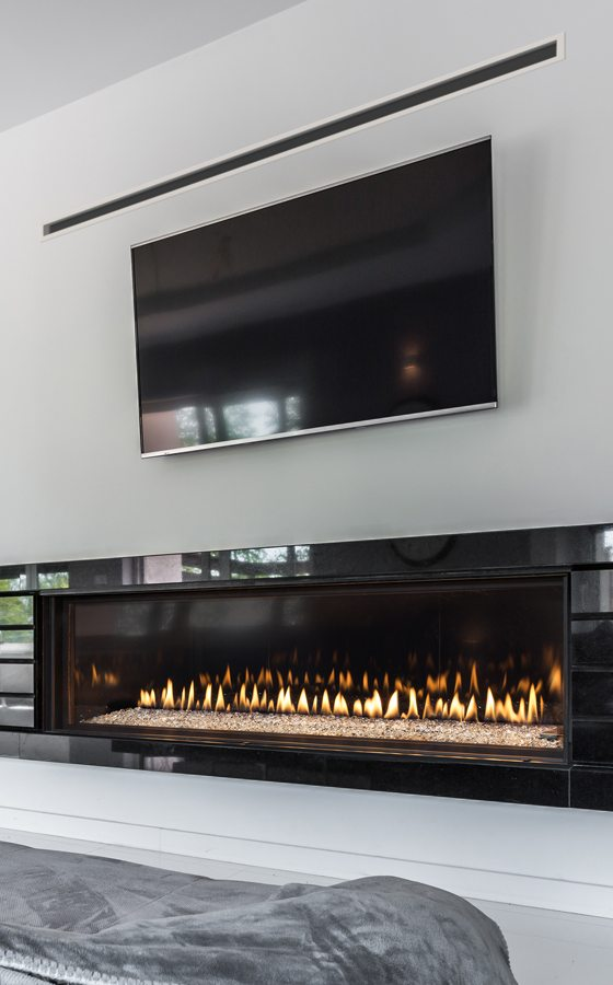 fireplace inset to wall in a living room